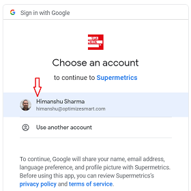 chose an account to continue with supermetrics 3