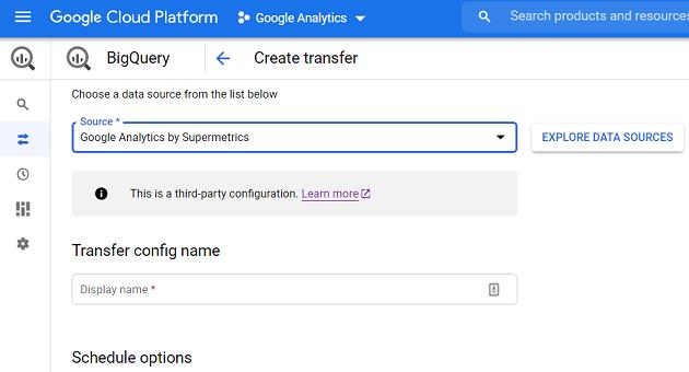 creating a data transfer