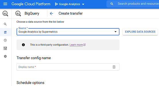 creating a google anlaytics data transfer in bigquery