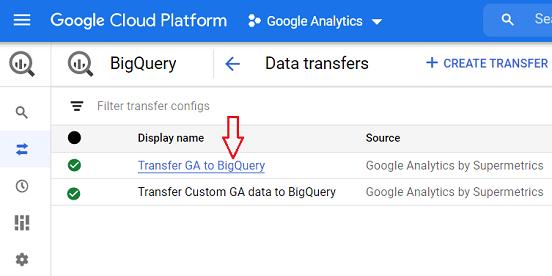 data transfer display name google bigquery