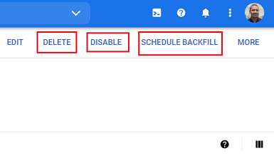 delete disable or schedule backfill data transfer bigquery