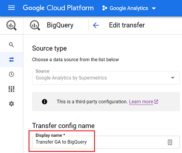 display name of your data transfer service