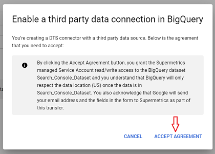 enable a third party data connection in bigquery 1
