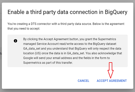 enable a third party data connection in bigquery