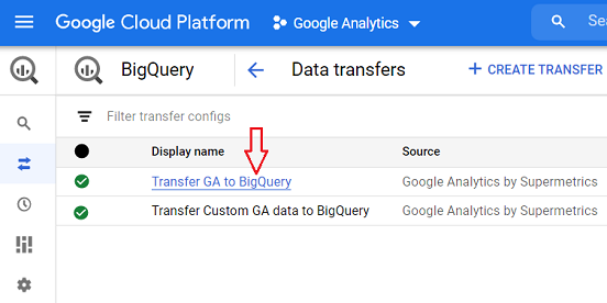 name of the data transfer service