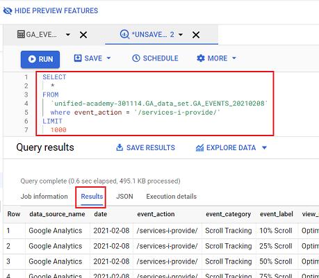 run sql query google bigquery