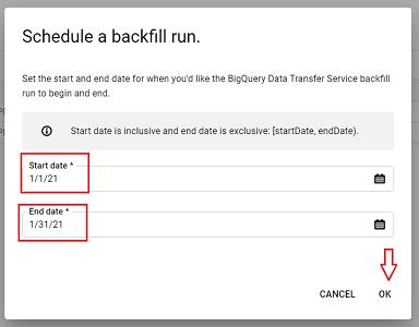 schedule a backfill run bigquery