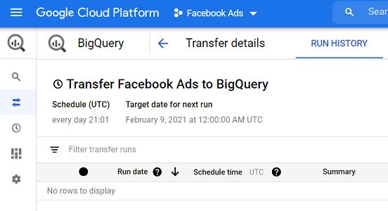 transfer facebook ads to bigquery 1
