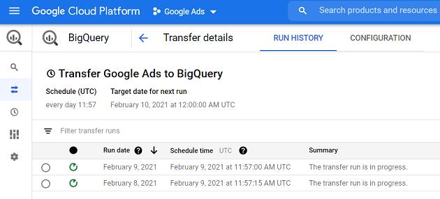 transfer google ads to bigquery