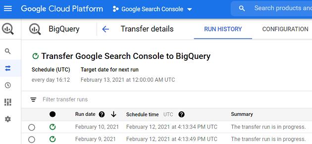Google Search Console to BigQuery