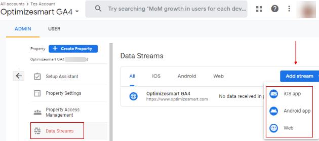 Data streams in GA4