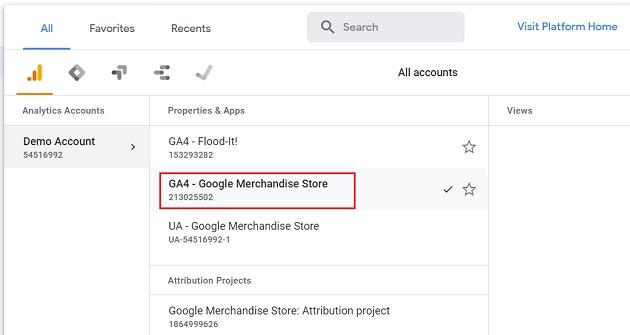 GA4 Google Merchandise Store reporting view