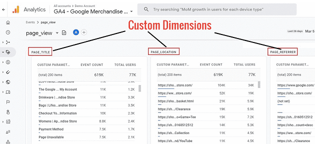 custom dimensions in ga4