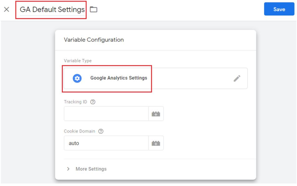 ga default settings
