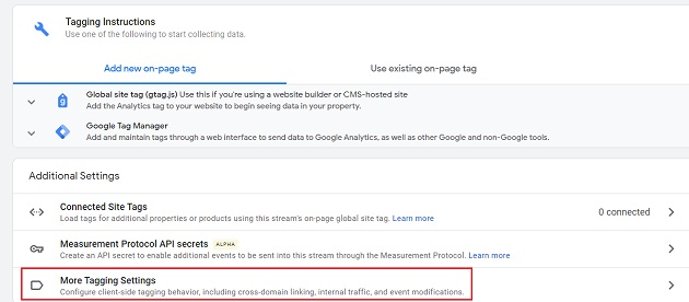more tagging settings
