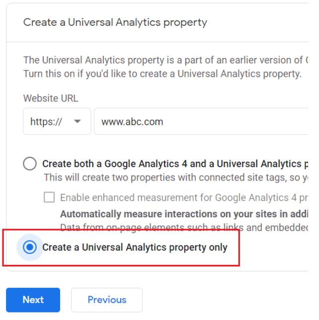 univeral analytics property