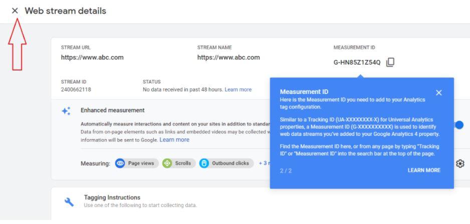 web stream measurement id