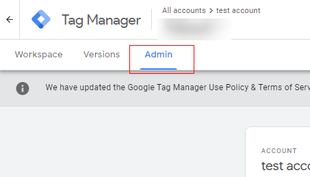 Admin section GTM
