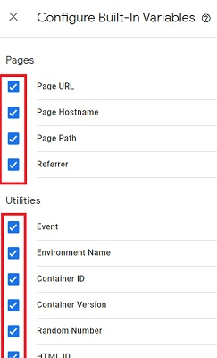 Click on the checkbox next to each variable name
