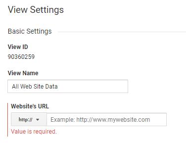 Default URL in View settings