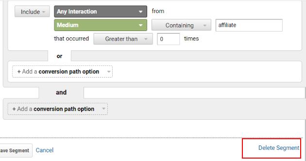 Delete conversion segment