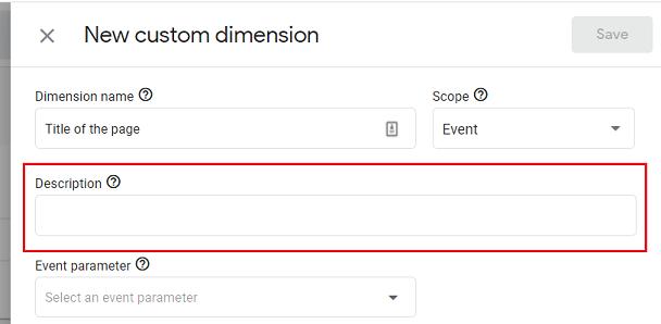 Description custom dimension