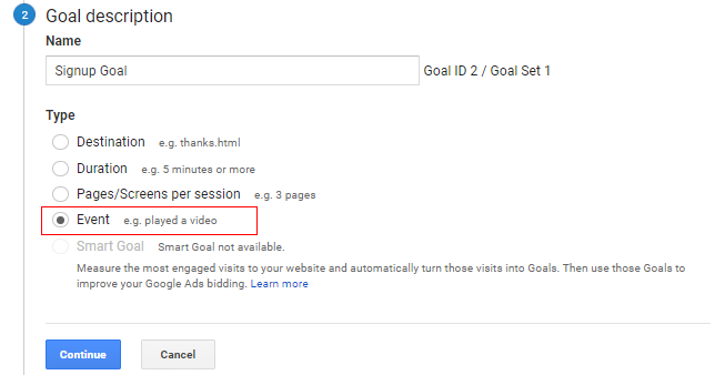 set up goals in google analytics