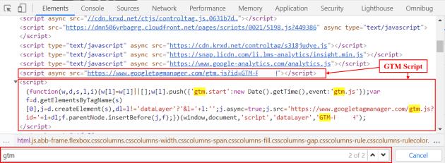 GTM script in elements tab