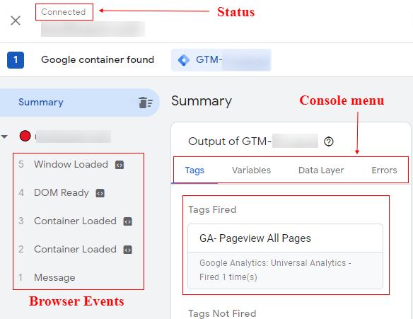 GTM status connected