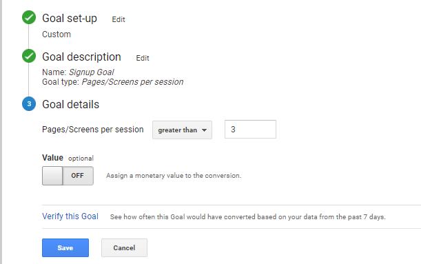 Goal details for Pages per sesssion