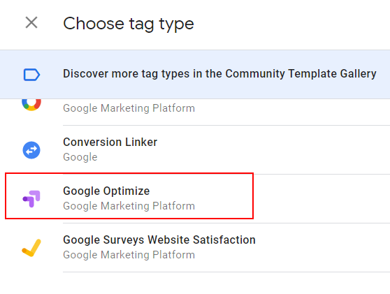 Google Optimize Tag Type 1
