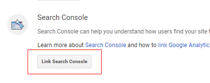 Search console linking