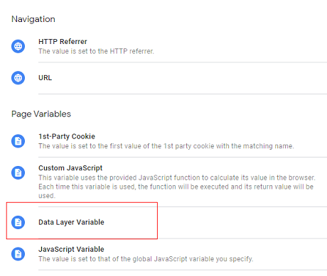 Select the data layer variable