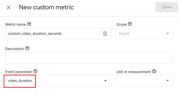 Select the event parameter video duration