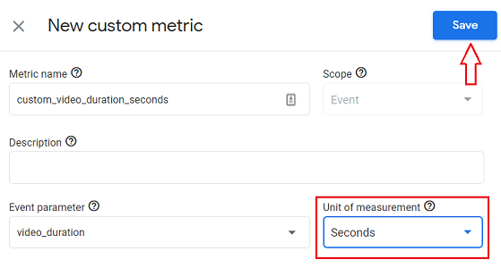 Select the unit of measurement from the drop down menu