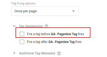 Tag Sequencing options