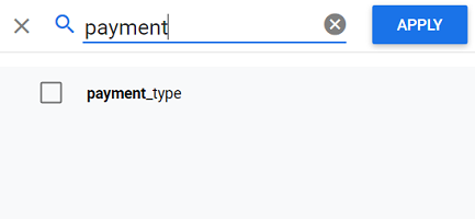 Type payment in the search