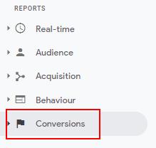 conversions tab in GA