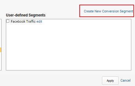 create conversion segment