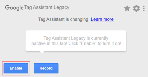 enable button on tag assistant