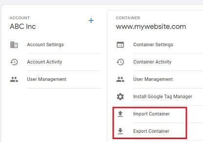 gtm tutorial import export container 1