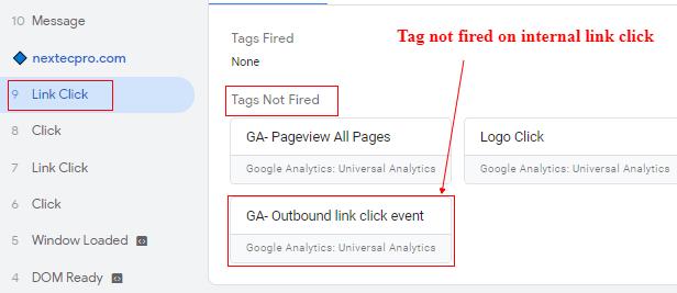internal link click not fired