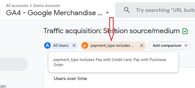 new comparison added to the Traffic acquisition report