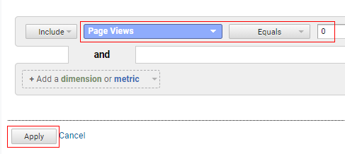 page view filter
