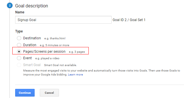 pages screens per session goal