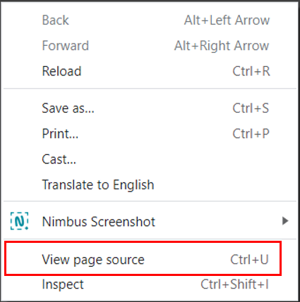 right click and select view page source
