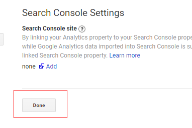 search console settings