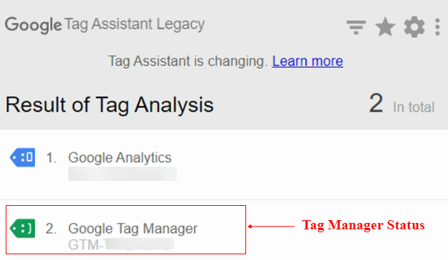 tag manager status green