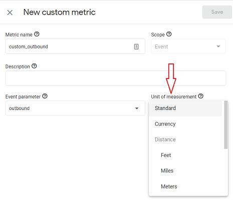 unit of measurement custom metrics ga4