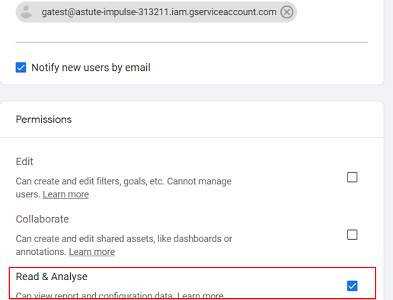 Add the service account created in the developers console
